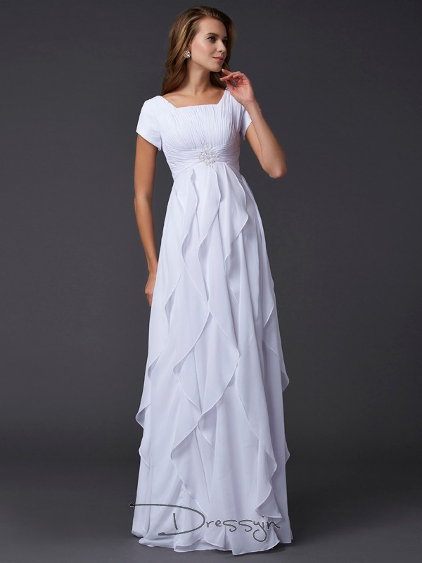 Sheath/Column Square Ruffles Short Sleeves Chiffon Long Dresses