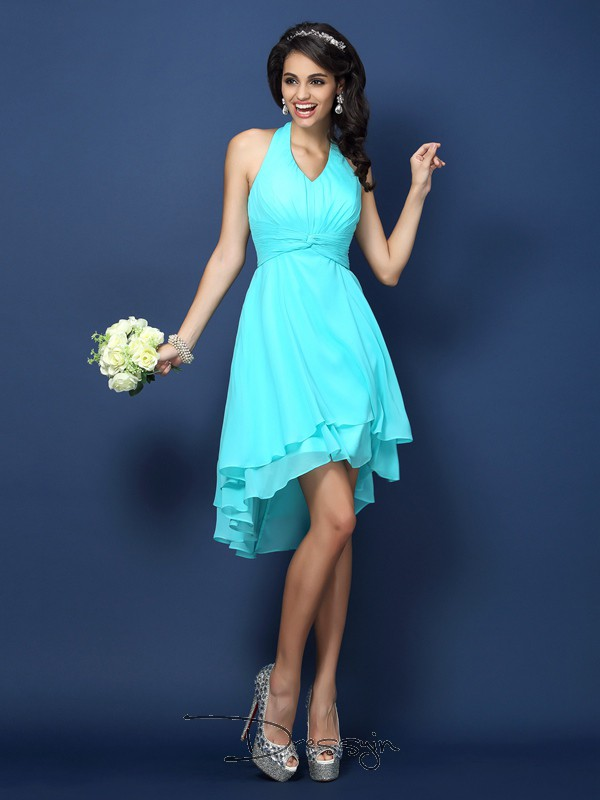 A-Line/Princess Sleeveless Halter Pleats Chiffon Short Bridesmaid Dresses
