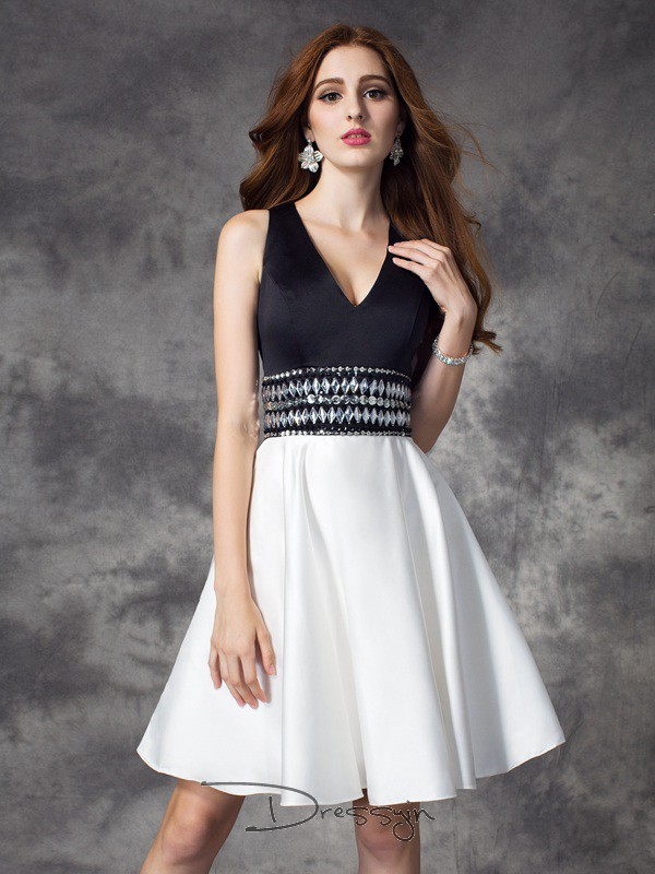 A-Line/Princess Satin V-neck Sleeveless Rhinestone Short Dresses