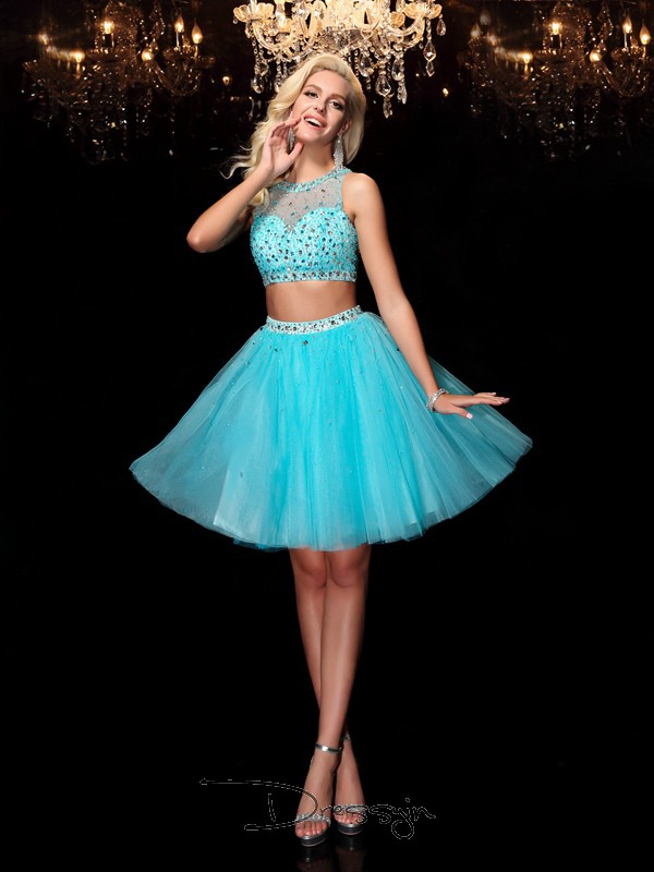 A-Line/Princess Net Scoop Sleeveless Rhinestone Short Dresses