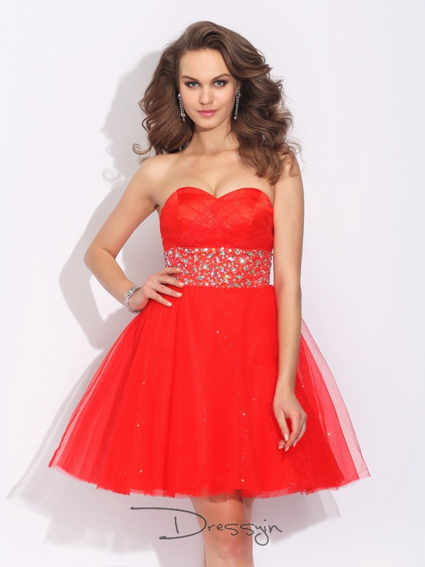 A-Line/Princess Net Sweetheart Sleeveless Rhinestone Short Dresses