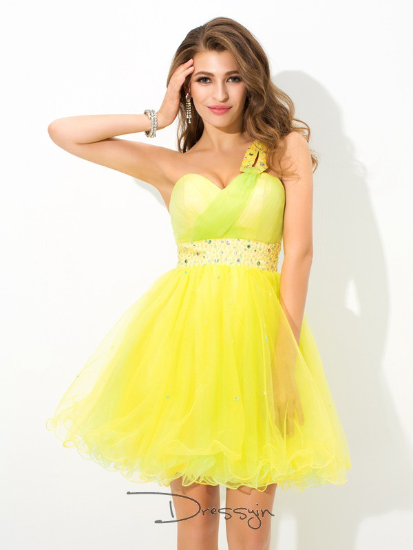 A-Line/Princess Net One-Shoulder Sleeveless Beading Short Dresses