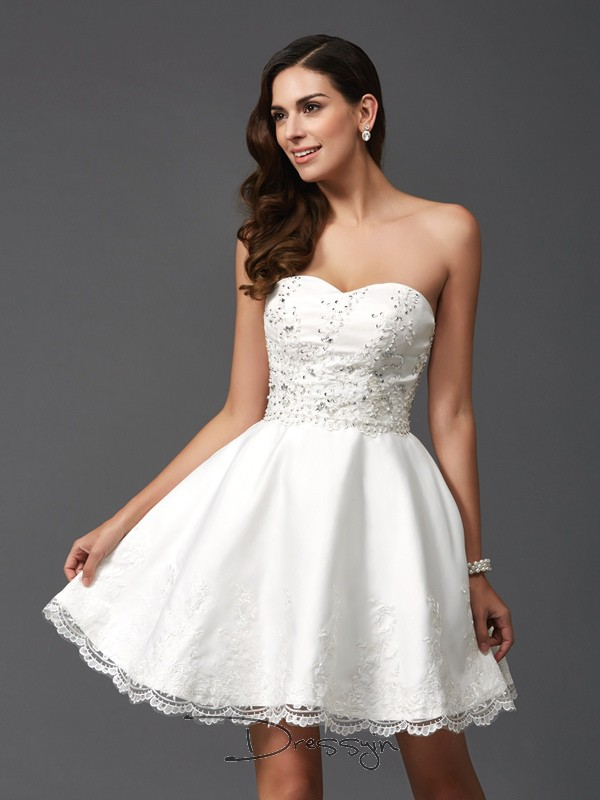 A-Line/Princess Satin Sweetheart Sleeveless Beading Short Dresses