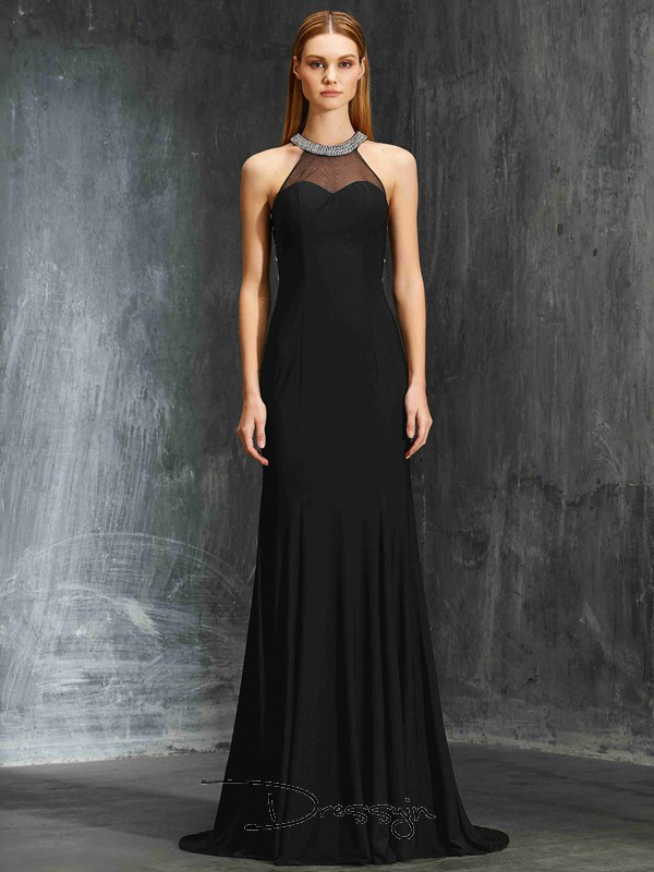 Sheath/Column Beading Jewel Sleeveless Spandex Long Dress