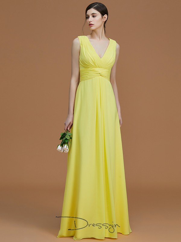 A-Line/Princess Ruched V-neck Sleeveless Chiffon Long Bridesmaid Dress