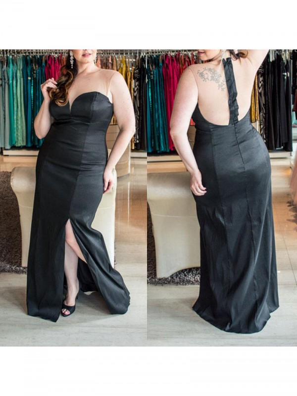 Sheath/Column Sweetheart Ruched Floor-Length Elastic Woven Satin Plus Size Dress