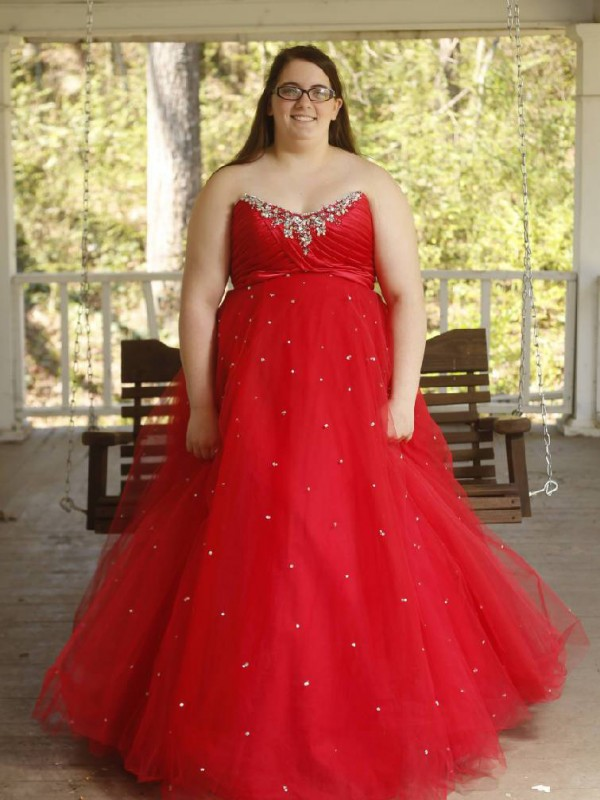 Ball Gown Sweetheart Beading Floor-Length Organza Plus Size Dress