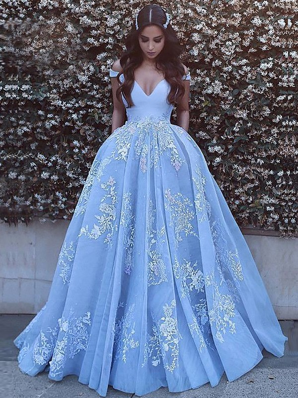 Ball Gown Off-the-Shoulder Applique Sleeveless Tulle Long Dresses