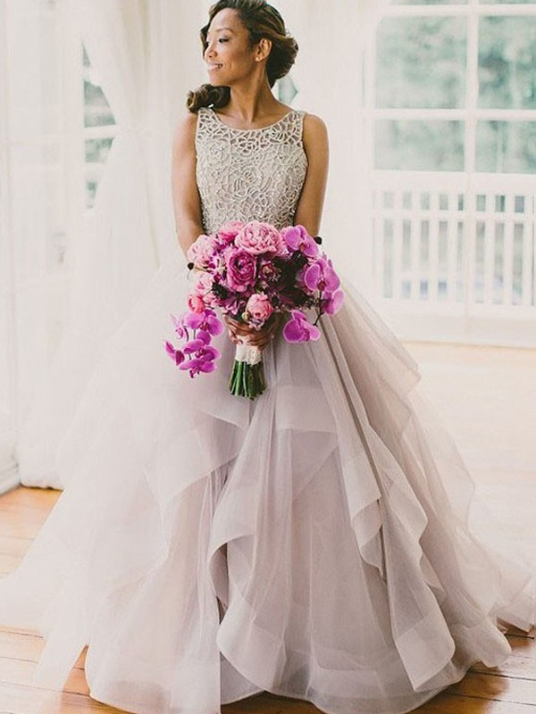 Ball Gown Tulle Sleeveless Beading Scoop Long Wedding Dresses