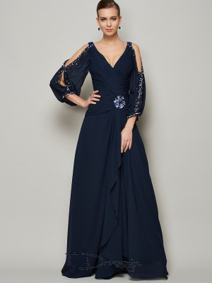 A-Line/Princess V-neck Beading Long Sleeves Chiffon Long Dresses