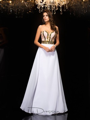 A-Line/Princess Chiffon Sweetheart Sleeveless Sequin Long Dresses