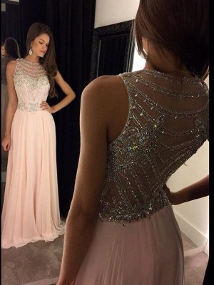 A-Line/Princess Scoop Crystal Sleeveless Chiffon Long Dresses