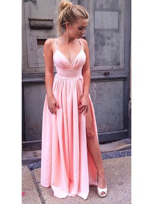 A-Line/Princess Straps Ruched Sleeveless Chiffon Long Dresses