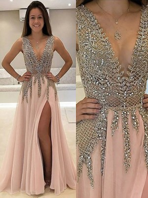 A-Line/Princess V-Neck Beading Sleeveless Tulle Long Dresses