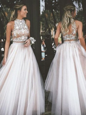A-Line/Princess Tulle Sleeveless Beading High Neck Long Dresses