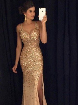 Sheath/Column Jersey Sleeveless Sequin V-neck Long Dresses