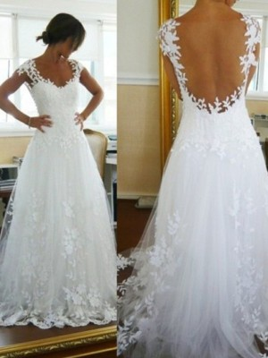 A-Line/Princess Tulle Sleeveless Lace V-neck Long Wedding Dresses