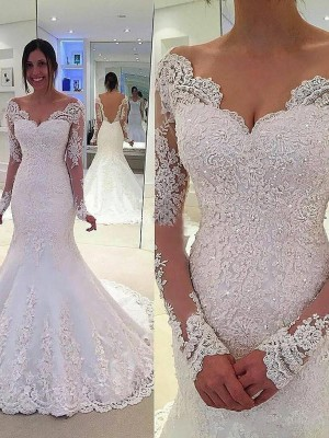 Trumpet/Mermaid Tulle Long Sleeves Lace V-neck Court Train Wedding Dresses