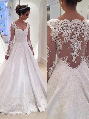 Ball Gown Satin Long Sleeves Lace V-neck Court Train Wedding Dresses