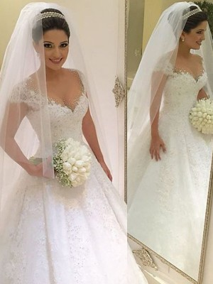 Ball Gown Tulle Sleeveless Beading V-neck Long Wedding Dresses