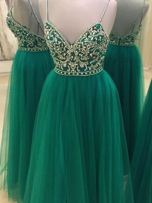 A-Line/Princess Tulle Sleeveless Beading Spaghetti Straps Long Dresses