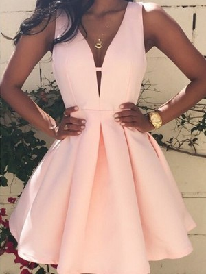 A-Line/Princess Satin Sleeveless V-neck Short Dresses