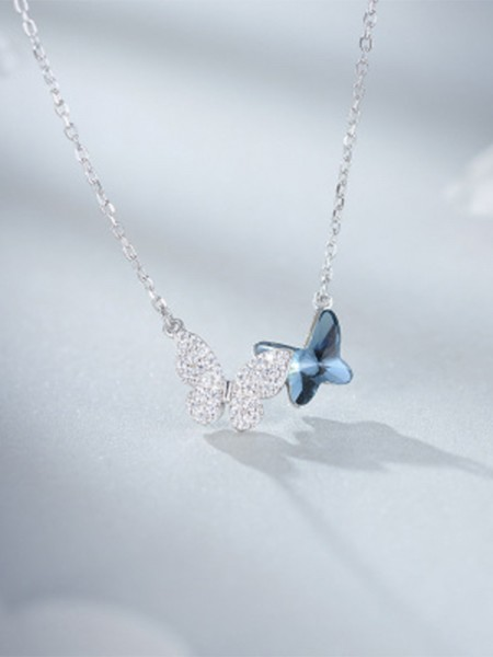 Women's Simple S925 Silver With Butterfly Necklaces