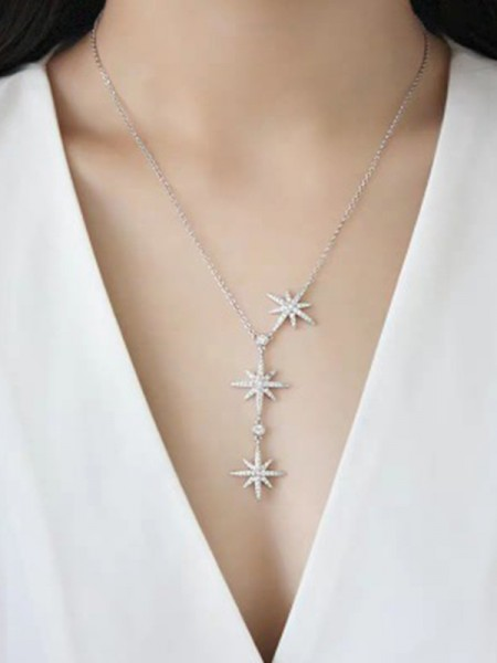 Ladies's Brilliant 925 Sterling Silver With Star Necklaces