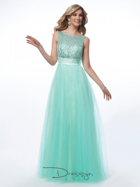 A-Line/Princess Bateau Beading Sleeveless Net Long Dresses