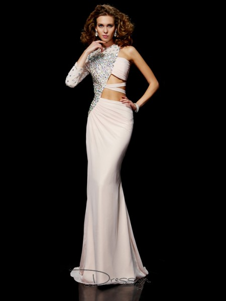 Sheath/Column One-Shoulder Ruffles Beading Sleeveless Chiffon Long Dresses