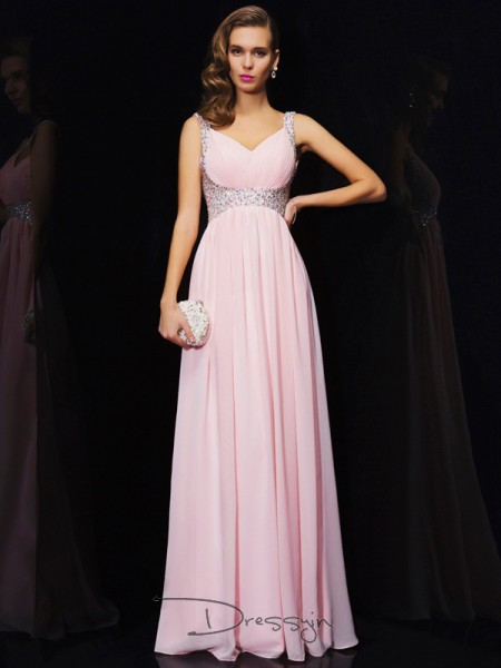 A-Line/Princess V-neck Straps Beading Sleeveless Chiffon Long Dresses