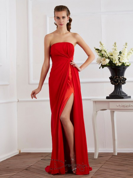 Sheath/Column Strapless Pleats Sleeveless Chiffon Long Dresses
