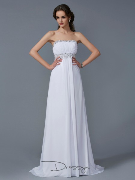 A-Line/Princess Strapless Beading Sleeveless Chiffon Long Dresses