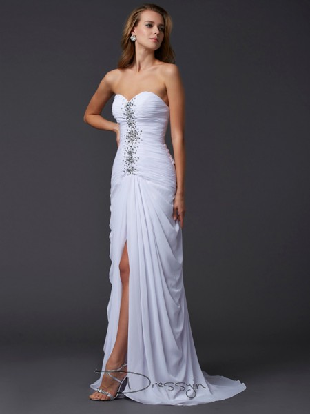 Sheath/Column Sweetheart Beading Sleeveless Chiffon Long Dresses