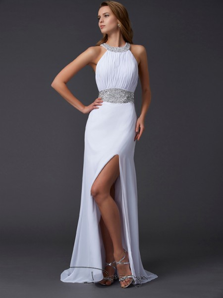 A-Line/Princess Scoop Ruffles Beading Sleeveless Chiffon Long Dresses
