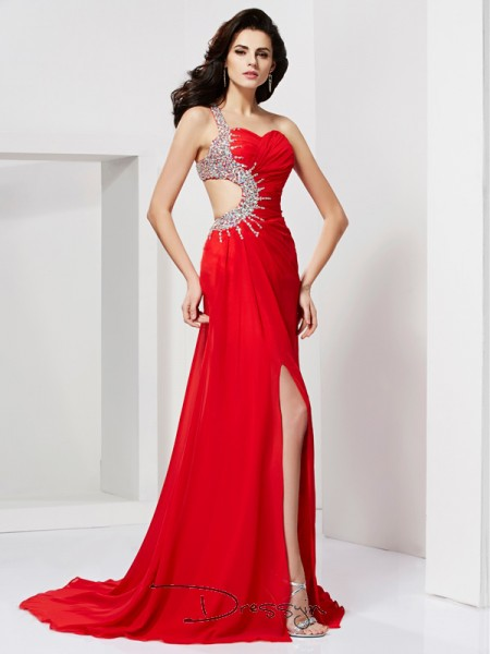 Trumpet/Mermaid One-Shoulder Pleats Beading Sleeveless Chiffon Long Dresses