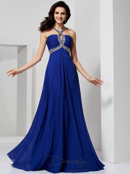 A-Line/Princess Pleats Beading Sleeveless Chiffon Long Dresses