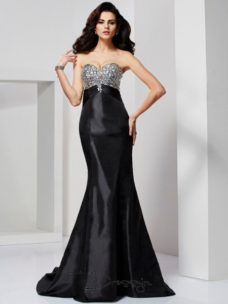 Trumpet/Mermaid Sweetheart Pleats Beading Sleeveless Taffeta Long Dresses