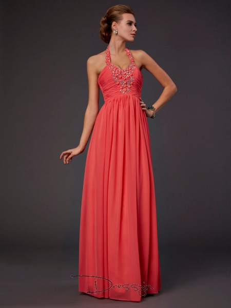 A-Line/Princess Halter Hand-Made Flower Beading Sleeveless Chiffon Long Dresses