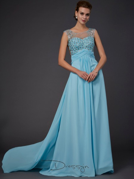 A-Line/Princess Scoop Beading Sleeveless Chiffon Long Dresses