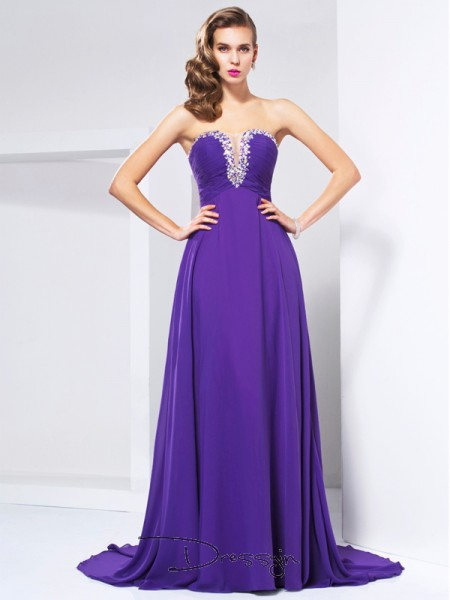 A-Line/Princess Sweetheart Beading Rhinestone Ruched Sleeveless Chiffon Long Dresses