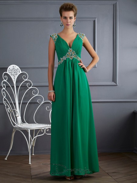 A-Line/Princess V-neck Beading Short Sleeves Chiffon Ankle-Length Dresses