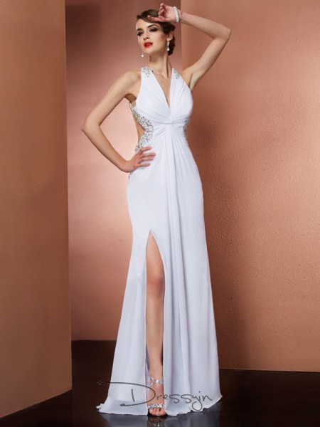 A-Line/Princess Halter Beading Applique Sleeveless Chiffon Long Dresses