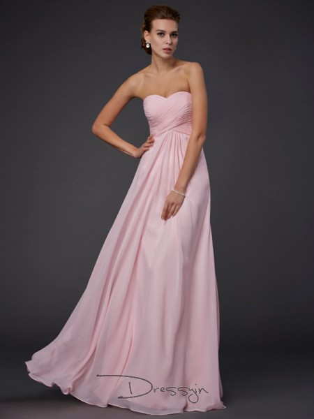 Sheath/Column Sweetheart Ruffles Sleeveless Chiffon Long Dresses