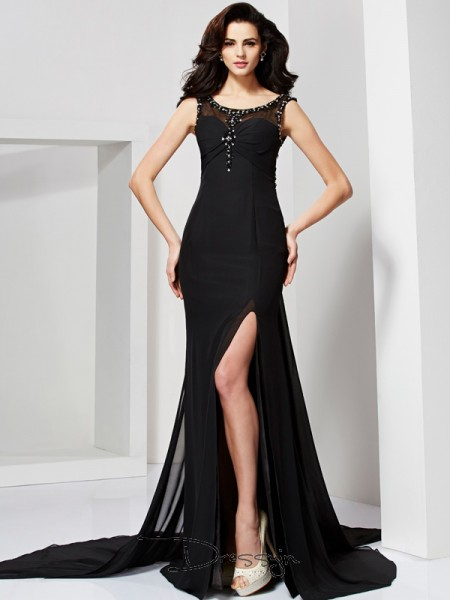 Sheath/Column Scoop Ruffles Beading Sleeveless Chiffon Long Dresses