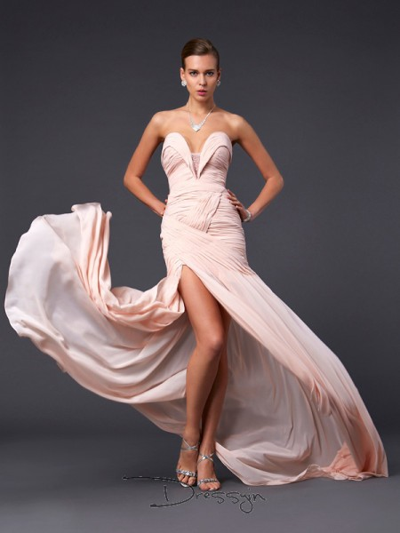 Sheath/Column Sweetheart Pleats Sleeveless Chiffon Long Dresses