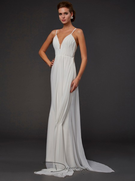 Trumpet/Mermaid V-neck Ruffles Sleeveless Chiffon Long Dresses