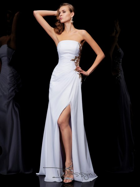 Sheath/Column Strapless Ruffles Applique Sleeveless Chiffon Long Dresses