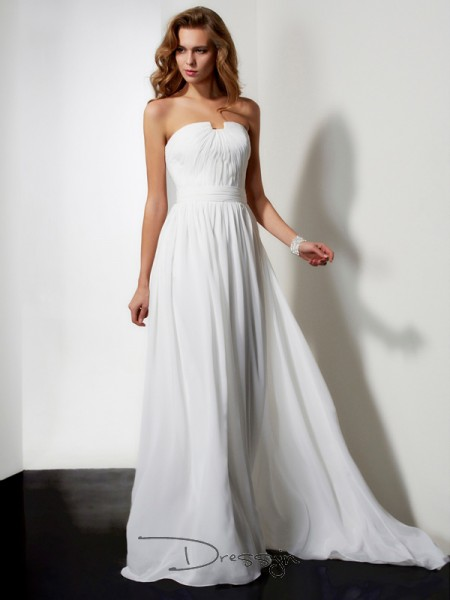 A-Line/Princess Strapless Pleats Ruffles Sleeveless Chiffon Long Dresses