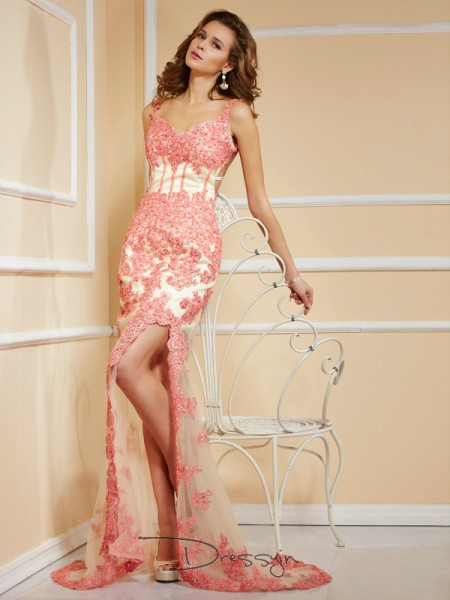 Sheath/Column Straps Applique Sleeveless Net Long Dresses